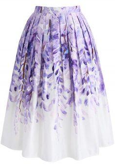 Divine Wisteria Printed Midi Skirt - http://www.chicwish.com/bottoms/skirt.html?cat=80&limit=60&dir=desc&order=created_at&pp=0