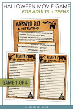 4 game bundle halloween movie night party games looking for last minute unique halloween games for adults or teens this set of 4 printable halloween
