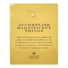 accomplish magnificent things starburst necklace, gold dipped