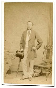 Full length portrait of a victorian gentleman with a top hat and umbrella. The face is indistinct - perhaps he moved? Carte de visite by M F Cooper, London Bridge (Estd 1820).