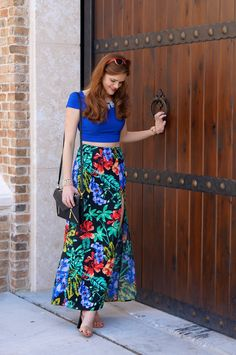 Bright Floral Maxi Skirt