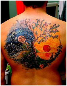 yin yang tattoo on back .. balance... tree... dark, light ... day, night...