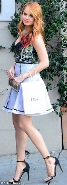 Debby Ryan In LUBLU Kira Plastinina SS14. Garden print cocktail dress with silk overlay. Debby at the Dior luncheon benefit.