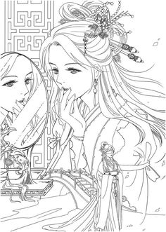 Instant Download! High quality images fit on A4 paper Over 200 printable coloring books available #coloringbook #coloring #portrait #mystica #chinesecoloring #koreacoloring #download #ebook #coloringpage People Coloring Pages, Coloring Pages For Grown Ups, Adult Coloring Book Pages, Cute Coloring Pages, Cartoon Coloring Pages, Disney Coloring Pages, Printable Coloring Pages, Coloring Books, Gothic Anime Girl