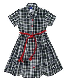 Look what I found on #zulily! Green & Navy Plaid Pleated Dress - Toddler & Girls #zulilyfinds