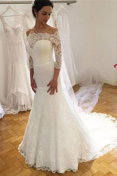 White Trumpet Court Train 3/4 Sleeve Off Shoulder Lace Wedding Dress,Cheap Wedding Dress W245