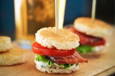 Super BLT Bites on Sourdough with Tarragon Mayonnaise Recipe on Yummly Mini Blt, Blt Bites, Tapas, Pork Recipes, Cooking Recipes, Pasta Recipes, Food On Sticks, Mayonnaise Recipe, Rainbow Food