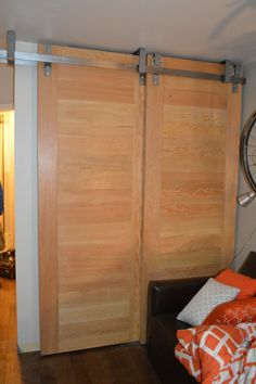 Floor to ceiling Bi-Pass closet doors by BILLYGOATGEAR. Armstrong BC. Doors & Adaptable sliding barn door hardware. No pre-drilled holes no ... Pezcame.Com