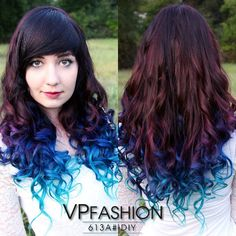 Brown ombre hair color to lake blue~