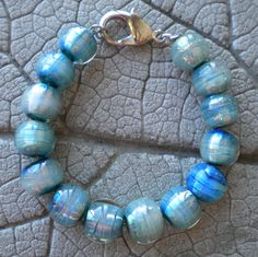 Encased Silver Glass Bead Bracelet Lampwork Beads by Cherie Sra R114 Flamework Lampwork Icy Blue Bead Bracelet  Double Helix Silver Glass by CherieRanfranz on Etsy