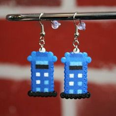 Tardis earrings hama mini beads by trendy.beads
