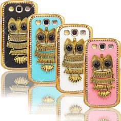 3D Glam Vintage Owl Galaxy S 3 Case