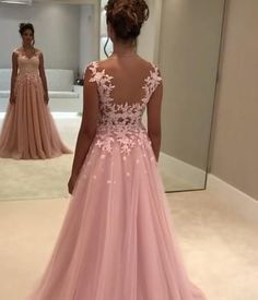 Elegant A Line Long Chiffon Prom Dresses Lace Appliques Evening Gowns 2018 on Luulla Pink Prom Dresses, Grad Dresses, Quinceanera Dresses, Bridal Dresses, Bridesmaid Dresses, Formal Dresses, Chiffon Dresses, Lace Chiffon, Fall Dresses