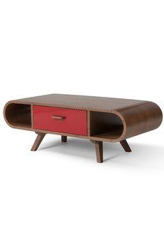 Fonteyn Couchtisch in Walnuss und Rot. Kurviges Design, abgewinkelte Beine, auffällige Holzmaserung – die Fonteyn Kollektion ist ein Hingucker in jedem Zuhause.