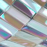 Rainbow glass tiles, one of crystal glass mosaic tiles from Builder Elements, with metallic iridescent refection on the mosaic glass tiles surface, sku: MER0013, color: purple and white.