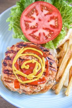 This grilled chicken burger recipe… Simple backyard ground chicken burger recipe! This grilled chicken burger recipe is full of flavor and some veggie too. Great recipe for parties and entertaining Chicken Burgers Healthy, Ground Chicken Burgers, Best Chicken Burger Recipe, Healthy Ground Chicken Recipes, Homemade Chicken Burgers, Beef Burgers, Chicken Patty Recipes, Chicken Patties, Chicken Kabobs