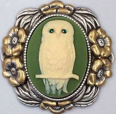 "STERLING Overlay On Stamped Brass~GOLD LEAF~ ""JEWELED OWL CAMEO"" Button~2 1/4"""