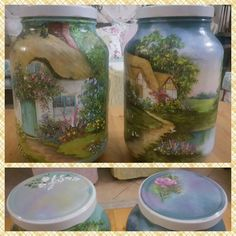 I had a couple of these glass jars left after sorting out storage space in the pantry cupboard. Couldn't, didn't want to, get rid of them so I decided to paint…