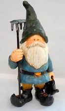 Large GARDEN GNOME W RAKE & WATERING CAN Statue Figurine - Perfect for Garden CR