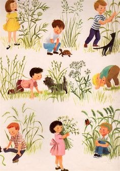 Poems to Read to the Very Young selected by Josette Frank, illustrated by Dagmar Wilson Art And Illustration, Vintage Illustration Art, People Illustration, Character Illustration, Book Illustrations, Illustration Children, Vintage Children's Books, Vintage Art, Baby Kind