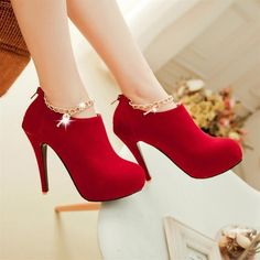 Cheap women pumps, Buy Quality pumps sexy directly from China high heels shoes woman Suppliers: New Fashion Women Pumps Sexy Round Toe Thin High Heels Shoes Woman Autumn Winter Zipper Flock Pumps Plus Size Red High Heels, High Heels Stilettos, High Heel Boots, Womens High Heels, Platform Boots, Women's Pumps, Suede Pumps, Bootie Heels, Metallic Pumps