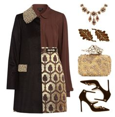 """""""Golden Fall"""" by kearalachelle ❤ liked on Polyvore featuring Topshop, Gucci, Cocobelle, Alice + Olivia, Jimmy Choo and Olivia Collings Antique Jewelry"""