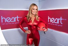 Wow: The star showed her commitment to Heart's Big Skydive in aid of Global's Make Some Noise as she slipped her toned frame into a skintight PVC catsuit paired with killer heels Britain's Got Talent, Amanda Holden, Leder Outfits, Skin Tight, Beautiful Women, Stunning Girls, Beautiful Celebrities, Bodycon Dress, Womens Fashion