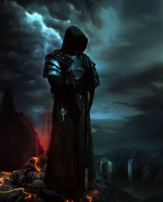 Image from fantasy and syfy. High Fantasy, Dark Fantasy Art, Dark Art, Dark Warrior, Fantasy Warrior, Dark Gothic, Gothic Art, Grim Reaper Art, Gothic Pictures