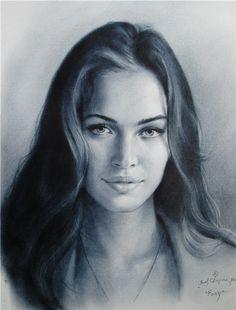 Portrait drawing in technique dry brush by Yakov Dedyk