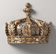 Replica of Antique Demilune Gilt Crown Bed Canopy
