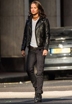 Star Tracks: Monday, May 29, 2017 LADY IN LEATHER Alicia Vikander sports a serious face while shooting scenes for Tomb Raider in London on Sunday.