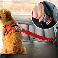 Tie langxian Dog Seat Belt Dog Cat Car Safety Seat Belt Harness Adjustable Leads Harness for Cars Vehicle Gray