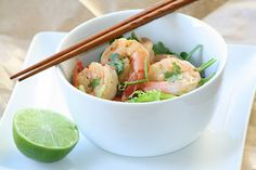 Grilled Shrimp Salad (with a Light Thai Peanut Dressing) and 5 Tips to Eat Less
