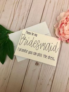 Propose to your best friend or sister with this Be My Bridesmaid card! Includes the tempting option of picking her own dress - a major trend in weddings right now. Handmade 5 x 7 with purple lettering. Im happy to take special requests for different color options. Comes with a white