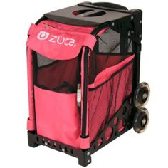 """ZuZuca Pet Carrier dbl-wheeled to tackle stairs and curbs; works as car seat also $150 14.5""""deep x 12.5""""wide x 18.5""""high"""
