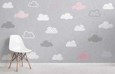 Pink and grey clouds pattern wall mural baby детская комната Bedroom Design For Teen Girls, Pink Bedroom Design, Pink Bedroom Decor, Teen Girl Bedrooms, Grey Bedrooms, Trendy Bedroom, Bedroom Ideas, Blush Bedroom, Girl Rooms