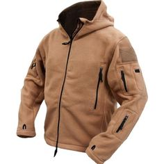 Men Tactical Military Winter Fleece Hooded Outdoor Jacket at Banggood