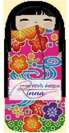 Kokeshi Girl Doll - CHIHARU   Cross Stitch Pattern/ Design