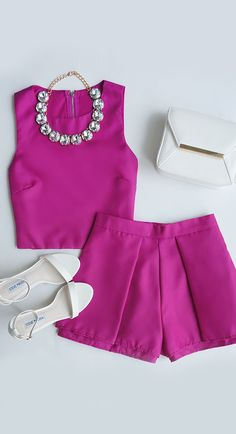 2 pieces fucsia outfit