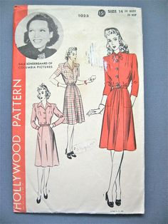 Vintage 1940s Hollywood 1023 sewing pattern to make dress.  Bust 32 and Hip 35 inches.. $12.00, via Etsy.