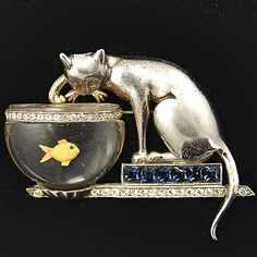 1946-1947 'Anthony Aquilino' Sterling Cat on Invisibly Set Sapphires Plinth Fishing in Jelly Belly Fish Bowl Pin.