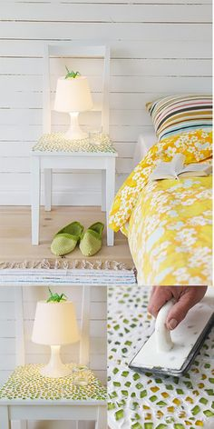 If you have an old chair then turn it into a bedside table with this lovely mosaic idea. You can more beautify this bedside table with pasting small pieces of broken china glasses, china plates, and stones of different colors. In this way, you can get a very beautiful nightstand at the cheapest cost and very short time.