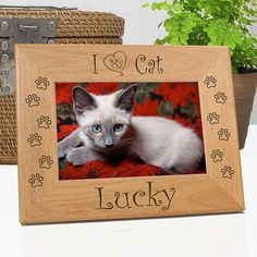 I Love My Cat Personalized Picture Frame | Cat Lover Gift Ideas | Cat Lover Valentines Day Gift | Animal Lover Gifts