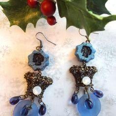 Boucles d'oreilles bronze esprit vintage et perles de bohème