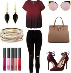 Fall Outfit Idea 2016 Polyvore.Great for Moms,Schools,Teens,Hipster,Women,This outfit can be worn casually or in parties.Dex red top-New Look high-waisted jeans-Massimo Matteo red pumps-Dolce Gabbana tote handbag-Kendra Scott bangle bracelet