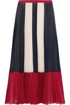 REDValentino - Color-block Plissé Chiffon Maxi Skirt - Blue - IT42