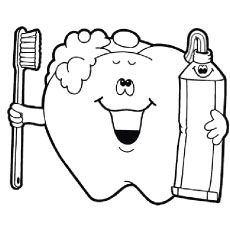 Coloring Pages of Happy Tooth Dental