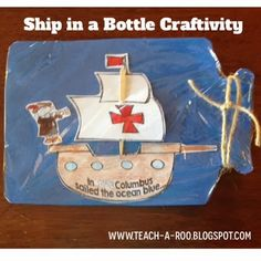 Ship in a bottle printable craft freebie for Columbus Day. I make these every year. Kids think they are the coolest!