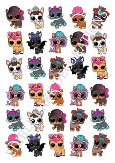 30 x L.O.L Surprise Dolls PETS STAND UPRiceCard CupcakeToppers 3x4cm Approximately These toppers are printed on edible rice/waferCard with edible inks Thesetoppers are supplied in sheet form, simply cut out using a dry clean pair of scissors Perfectto decorate your
