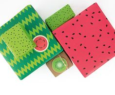 Wrapping paper with two-sided print as watermelon and kiwi